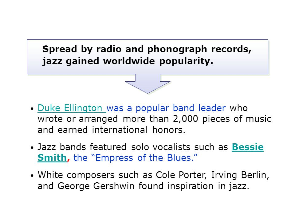 Spread by radio and phonograph records, jazz gained worldwide popularity.