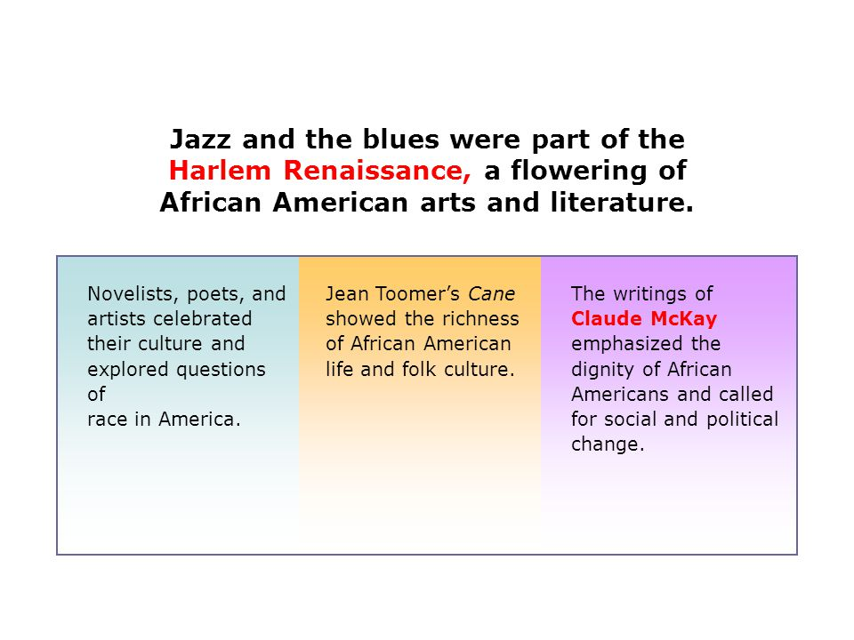 Jazz and the blues were part of the Harlem Renaissance, a flowering of African American arts and literature.