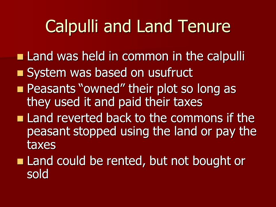 Calpulli and Land Tenure