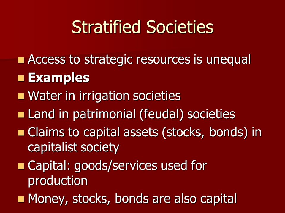 Stratified Societies Access to strategic resources is unequal Examples
