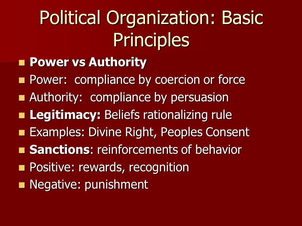 Political Organization: Basic Principles