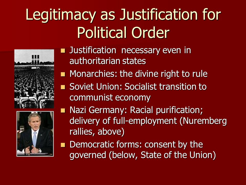 Legitimacy as Justification for Political Order