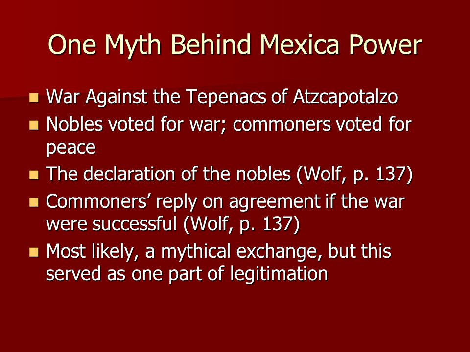 One Myth Behind Mexica Power