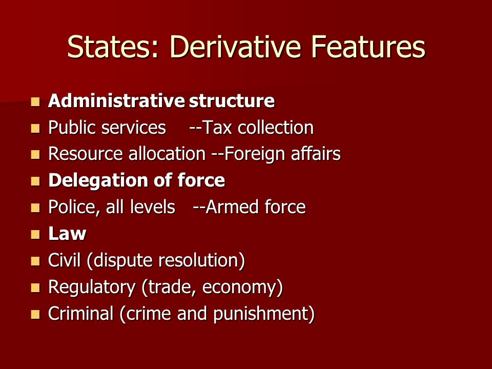 States: Derivative Features