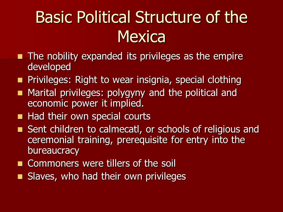 Basic Political Structure of the Mexica