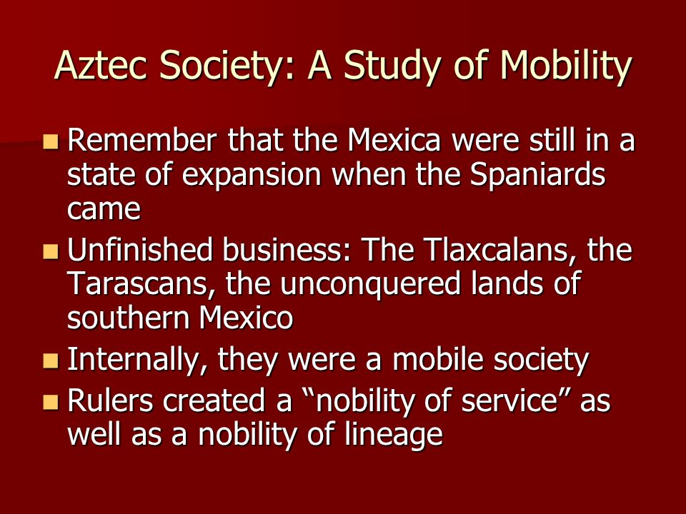 Aztec Society: A Study of Mobility