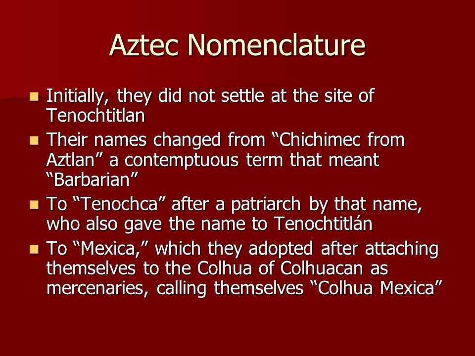 Aztec Nomenclature Initially, they did not settle at the site of Tenochtitlan.