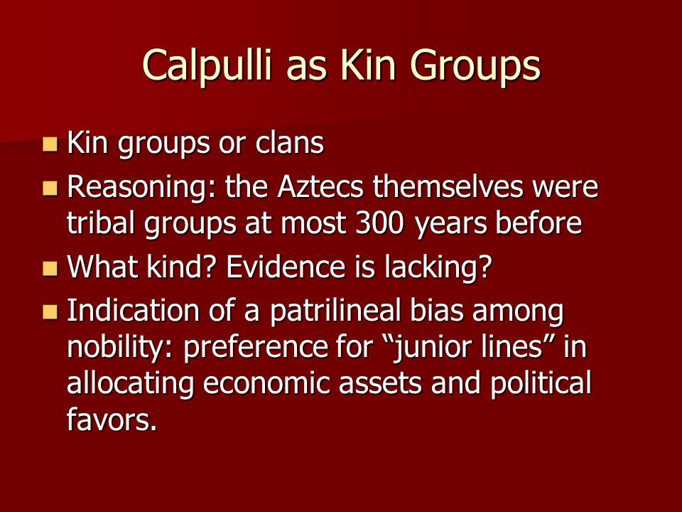 Calpulli as Kin Groups Kin groups or clans