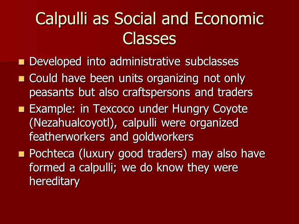 Calpulli as Social and Economic Classes