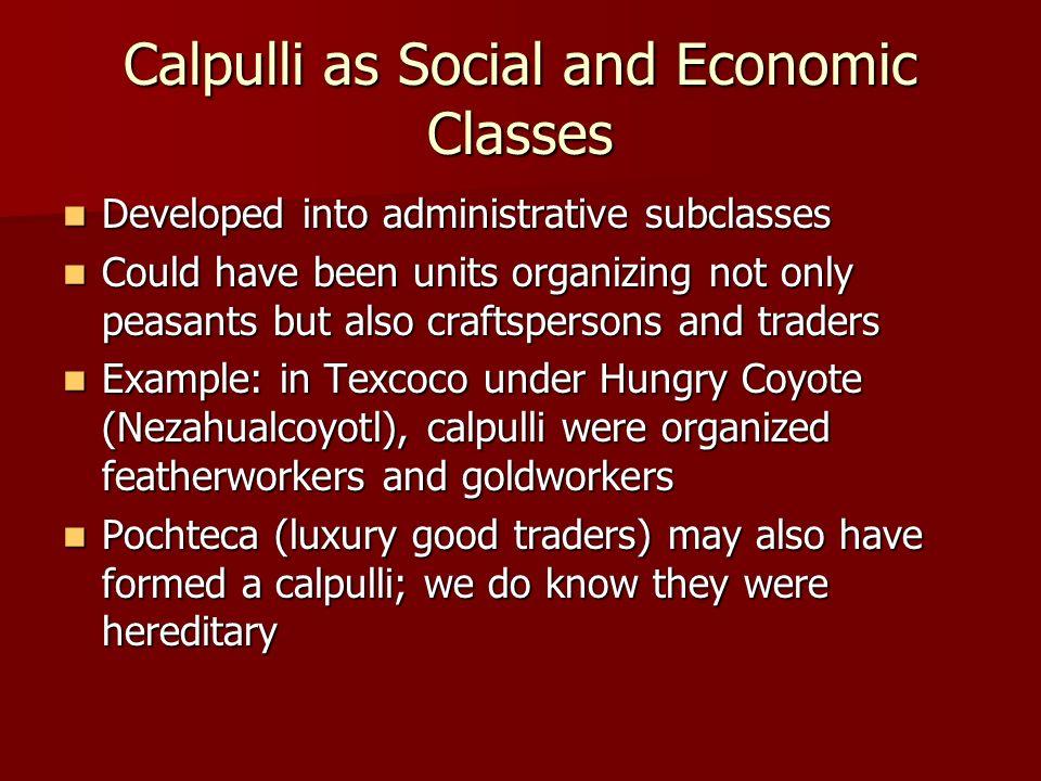 Calpulli as Social and Economic Classes