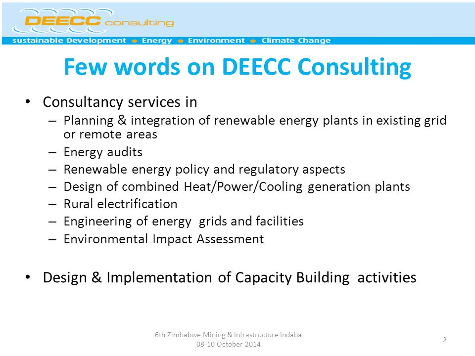 Few words on DEECC Consulting