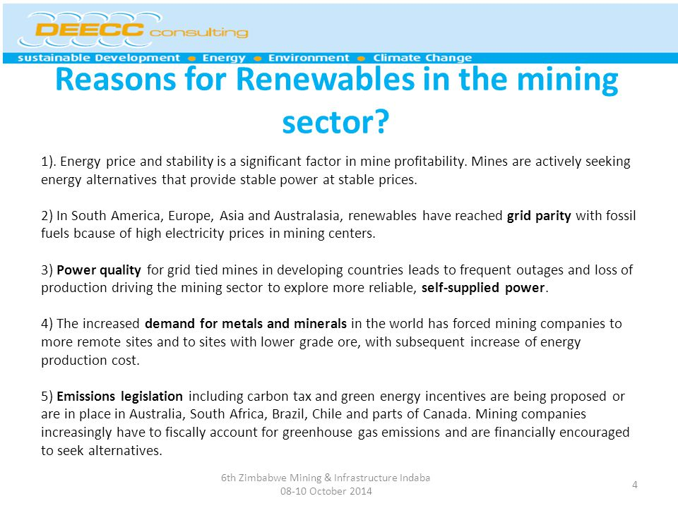 Reasons for Renewables in the mining sector