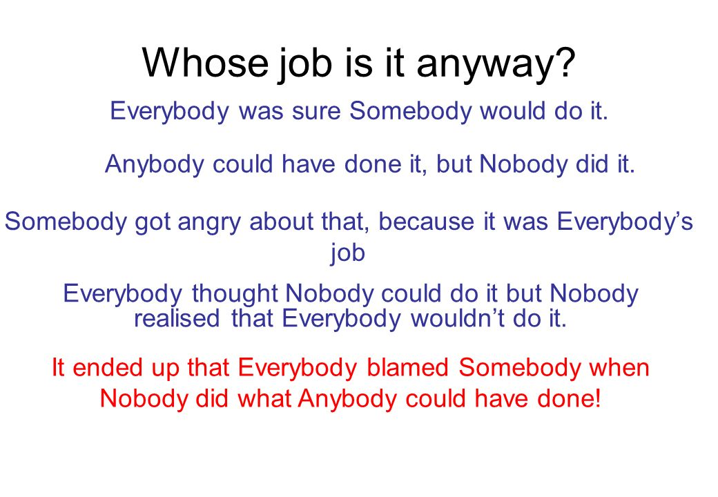 Whose job is it anyway Everybody was sure Somebody would do it.