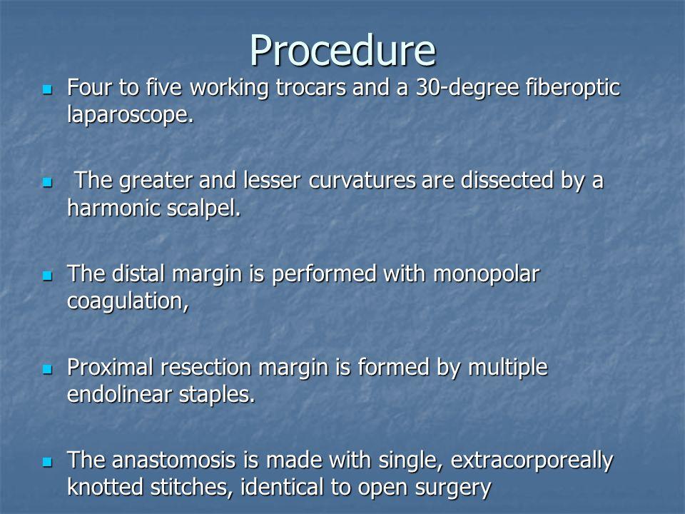 Procedure Four to five working trocars and a 30-degree fiberoptic laparoscope.