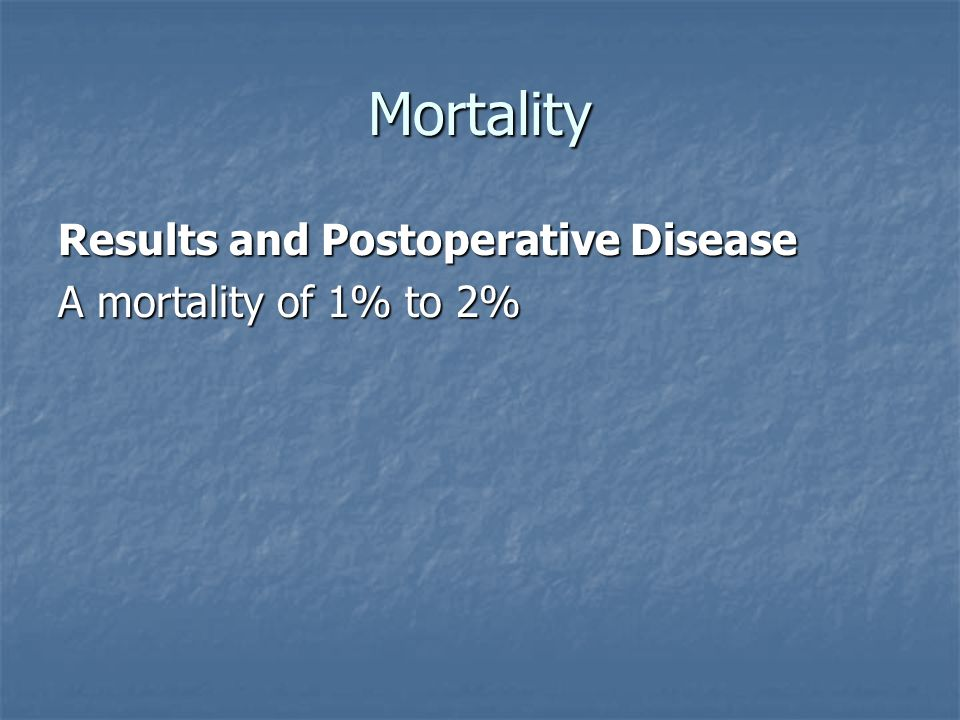 Mortality Results and Postoperative Disease A mortality of 1% to 2%