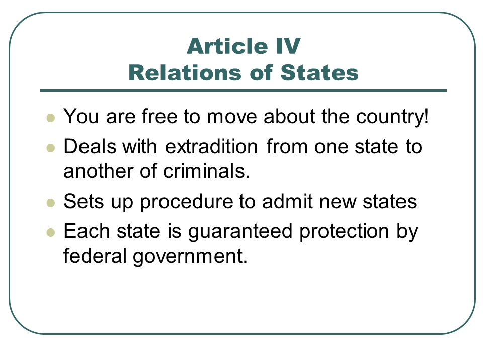 Article IV Relations of States