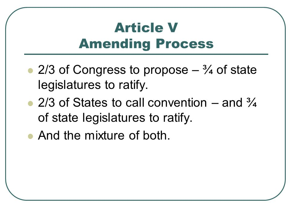 Article V Amending Process