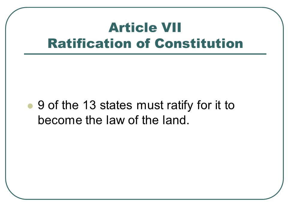 Article VII Ratification of Constitution