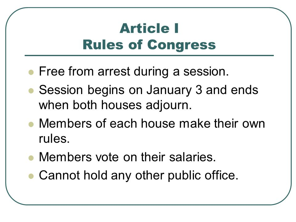Article I Rules of Congress
