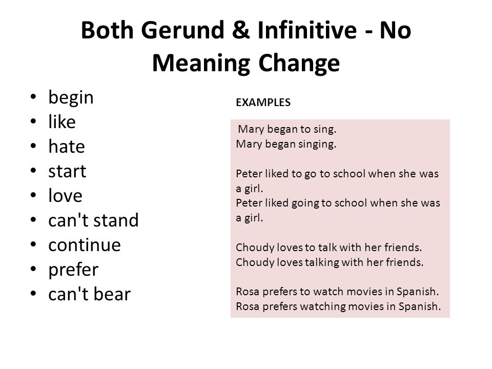 Both Gerund & Infinitive - No Meaning Change