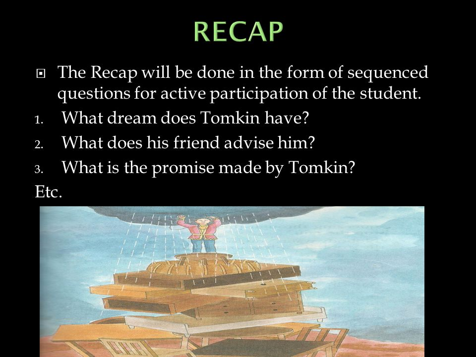 RECAP The Recap will be done in the form of sequenced questions for active participation of the student.