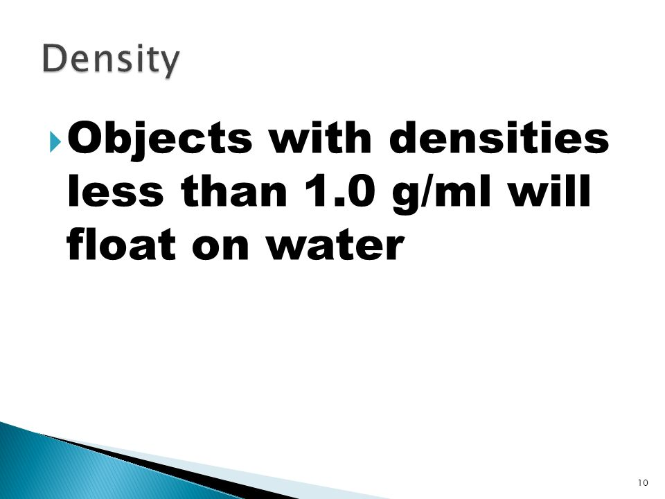 Objects with densities less than 1.0 g/ml will float on water
