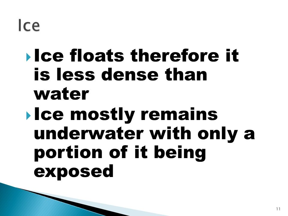 Ice floats therefore it is less dense than water