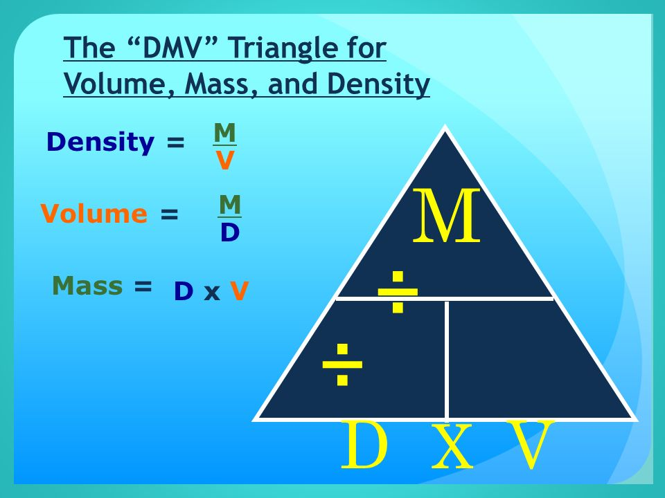 The DMV Triangle for Volume, Mass, and Density