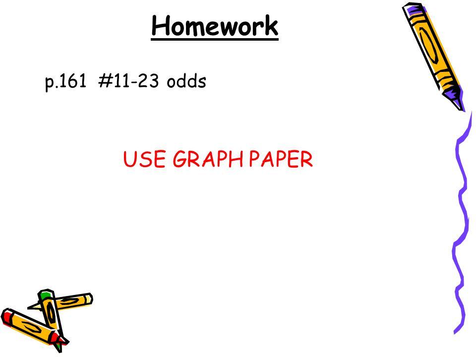 Homework p.161 #11-23 odds USE GRAPH PAPER