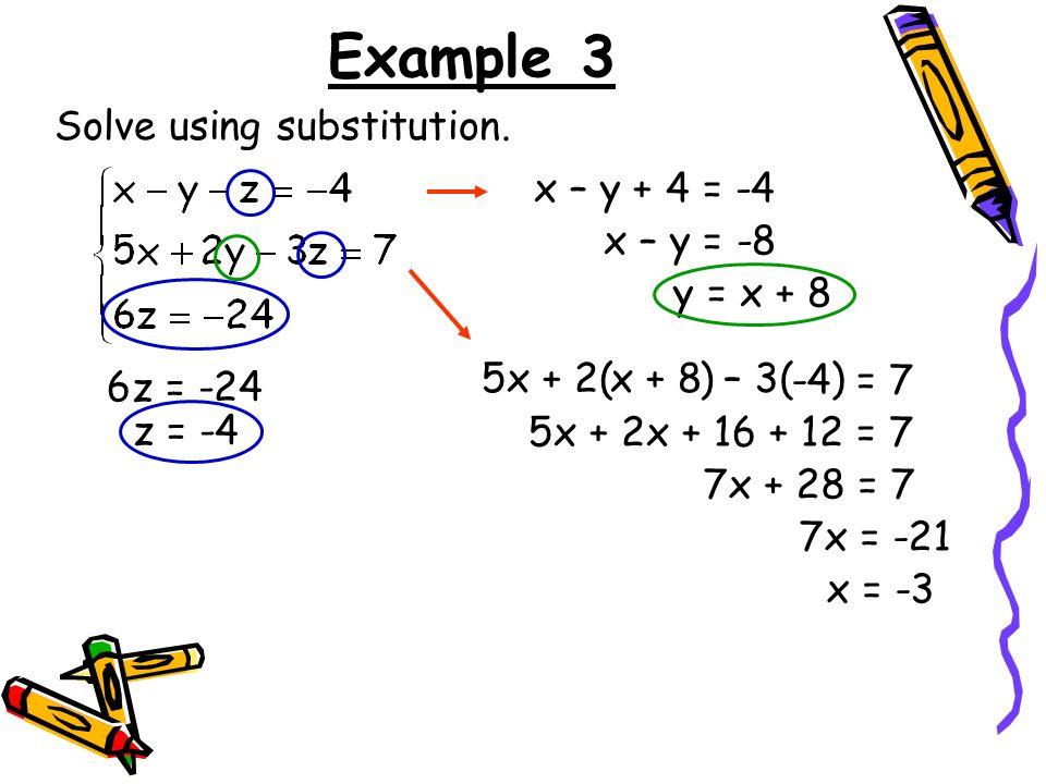 Example 3 Solve using substitution. x – y + 4 = -4 x – y = -8