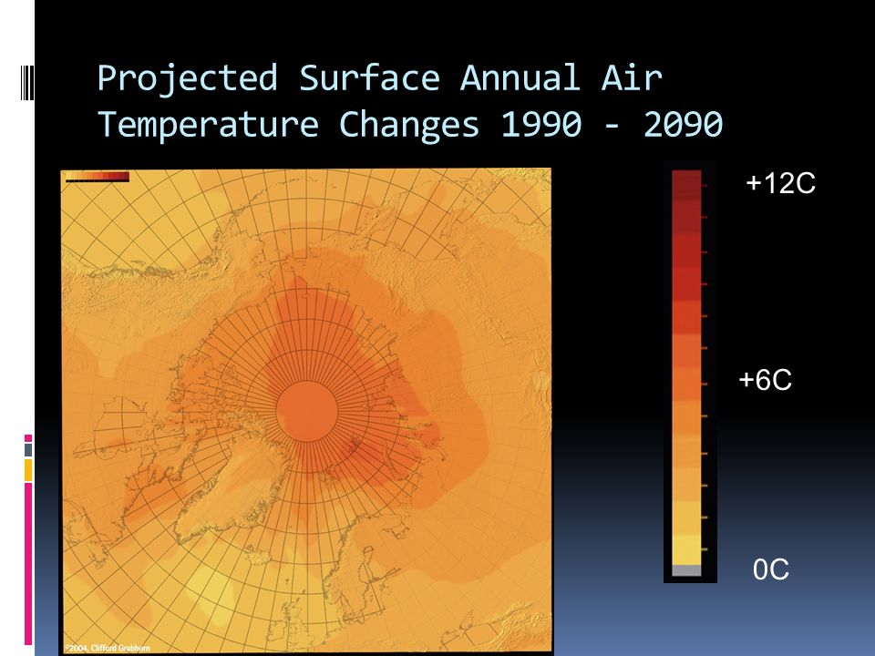 Projected Surface Annual Air Temperature Changes 1990 - 2090