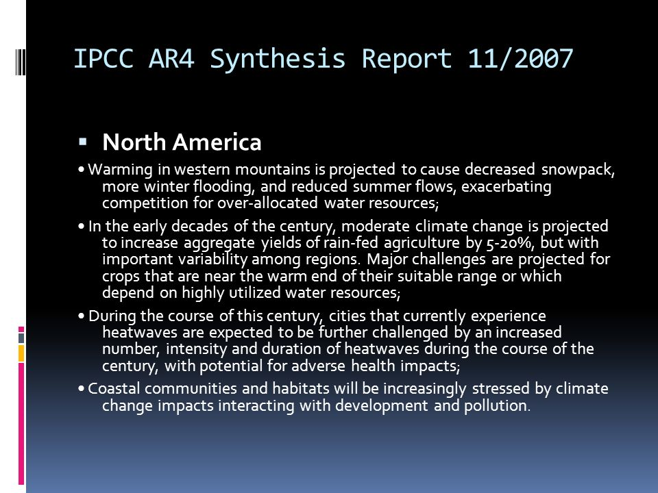 IPCC AR4 Synthesis Report 11/2007
