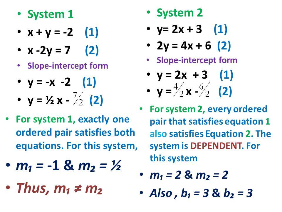 m₁ = -1 & m₂ = ½ Thus, m₁ ≠ m₂ System 1 x + y = -2 (1) x -2y = 7 (2)