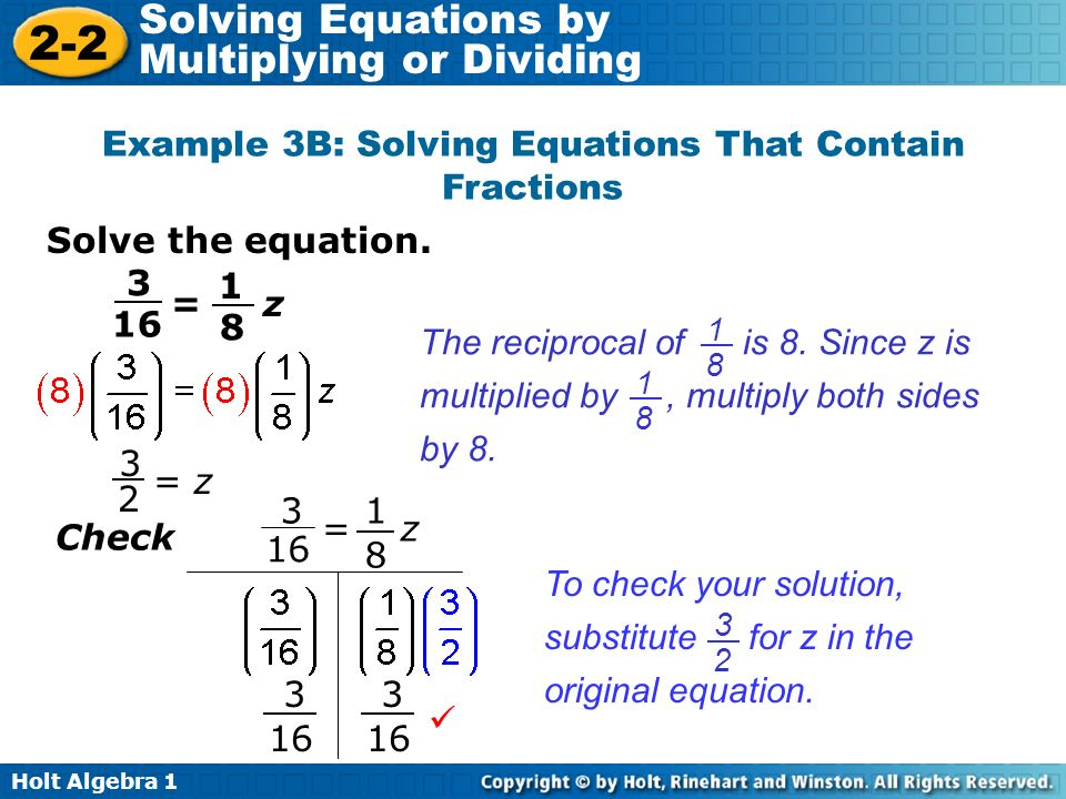 Example 3B: Solving Equations That Contain Fractions