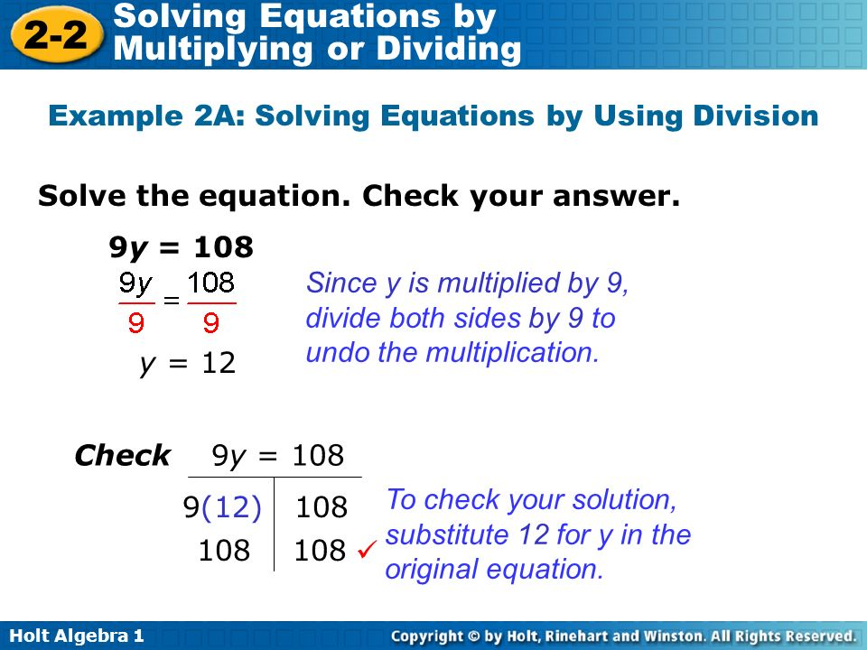 Example 2A: Solving Equations by Using Division