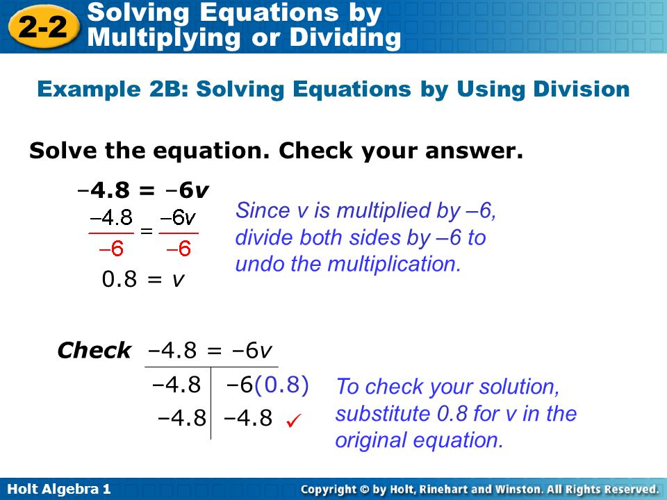Example 2B: Solving Equations by Using Division