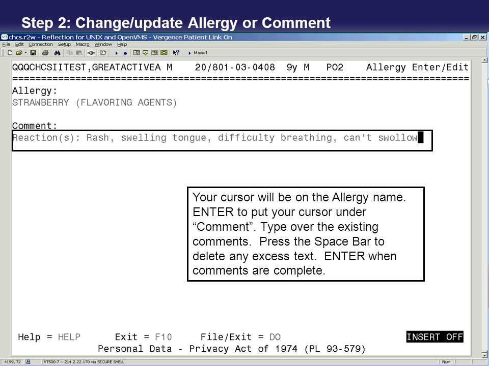 Step 2: Change/update Allergy or Comment