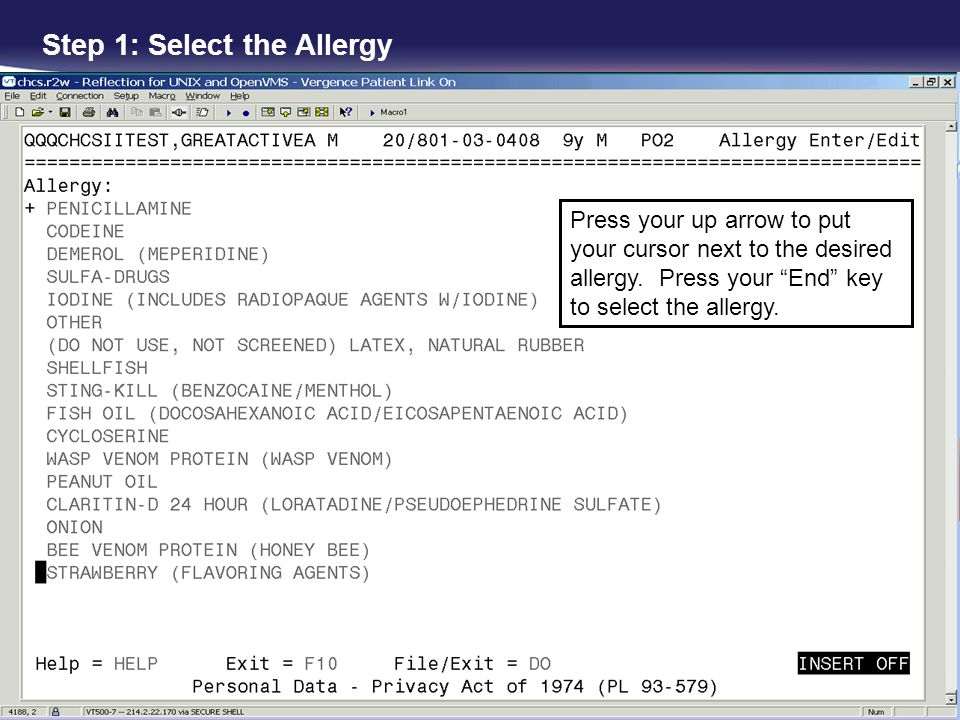 Step 1: Select the Allergy