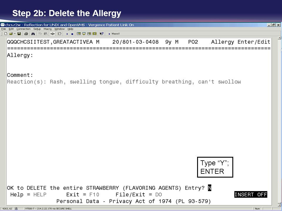 Step 2b: Delete the Allergy