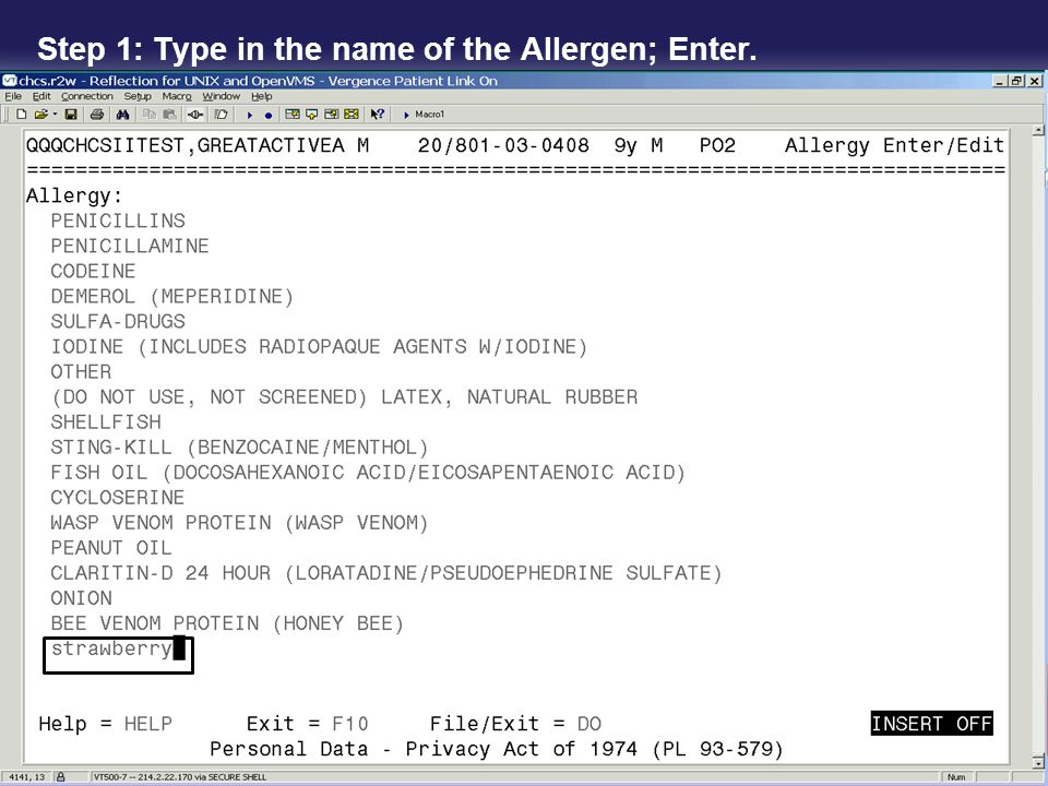 Step 1: Type in the name of the Allergen; Enter.