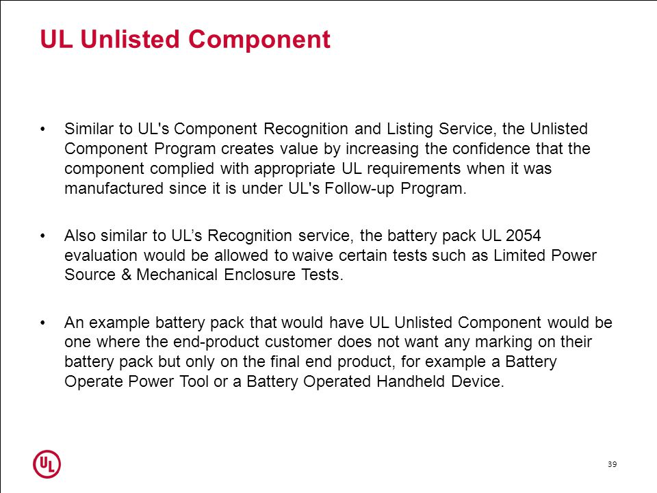 UL Unlisted Component
