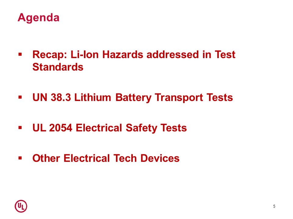 Agenda Recap: Li-Ion Hazards addressed in Test Standards