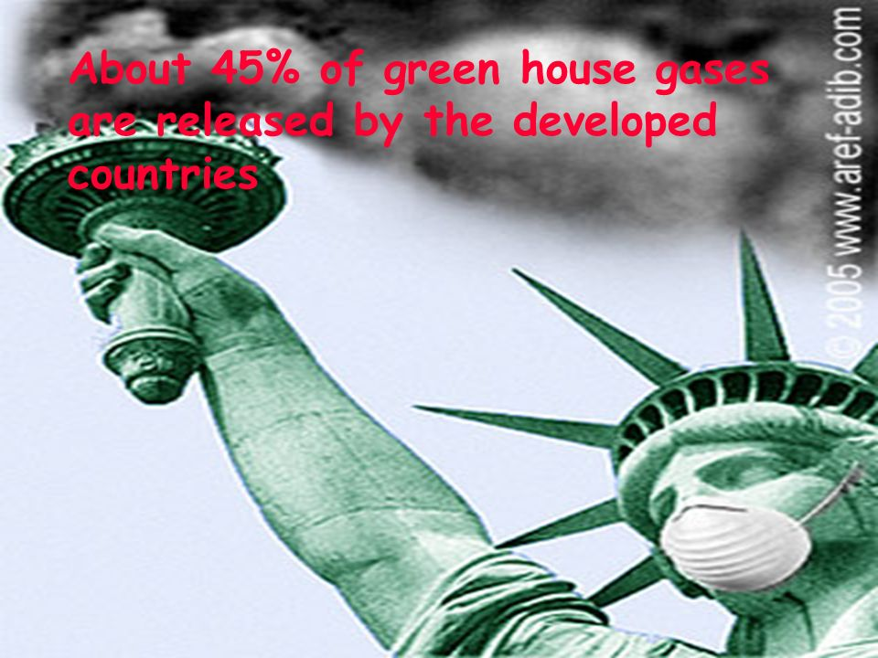 About 45% of green house gases are released by the developed countries