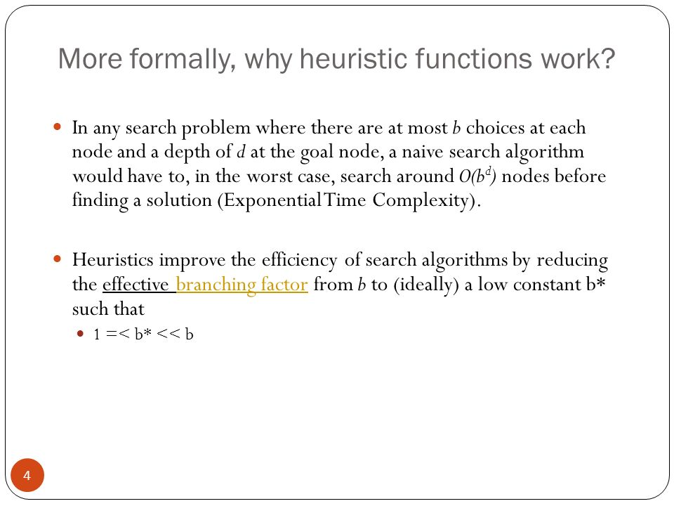 More formally, why heuristic functions work