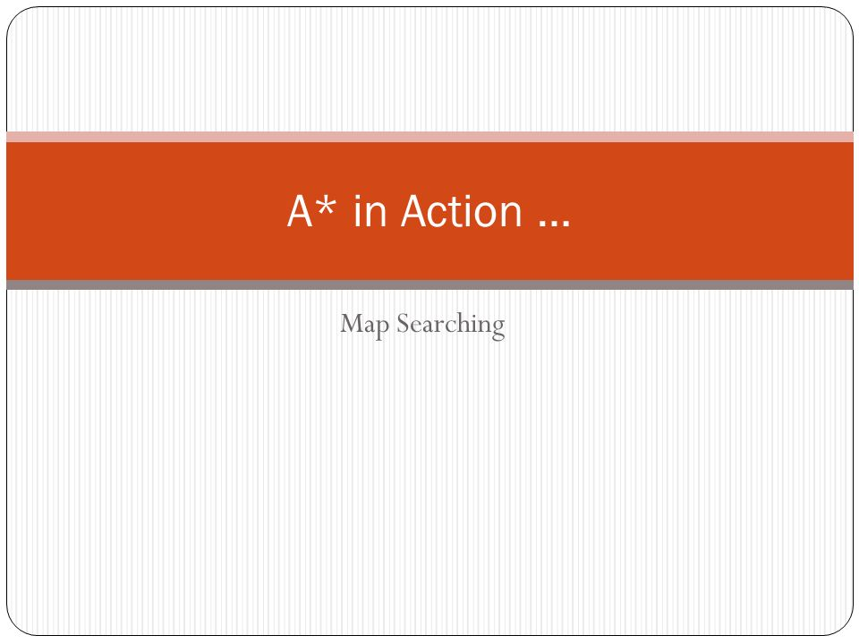 A* in Action … Map Searching