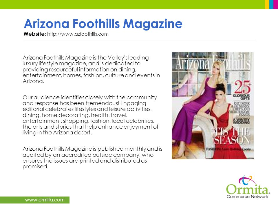 Arizona Foothills Magazine Website: http://www.azfoothills.com