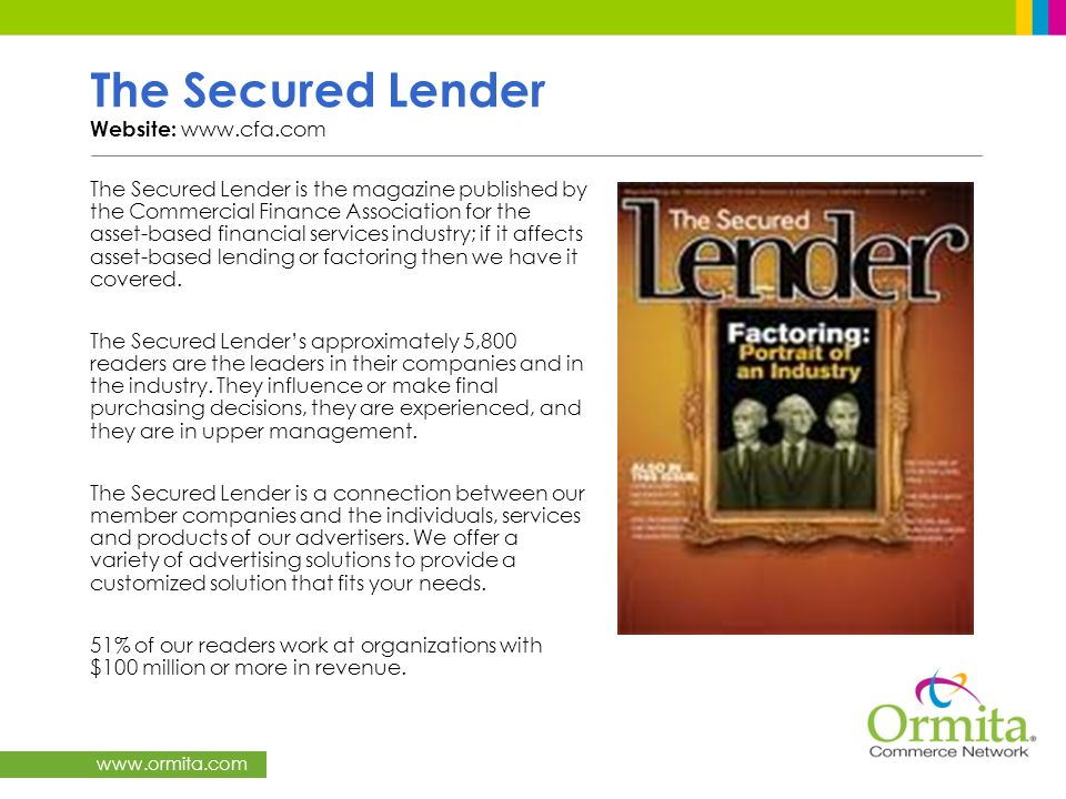 The Secured Lender Website: www.cfa.com