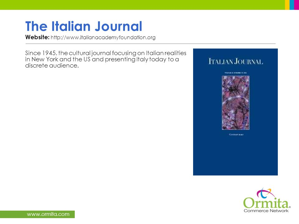 The Italian Journal Website: http://www.italianacademyfoundation.org