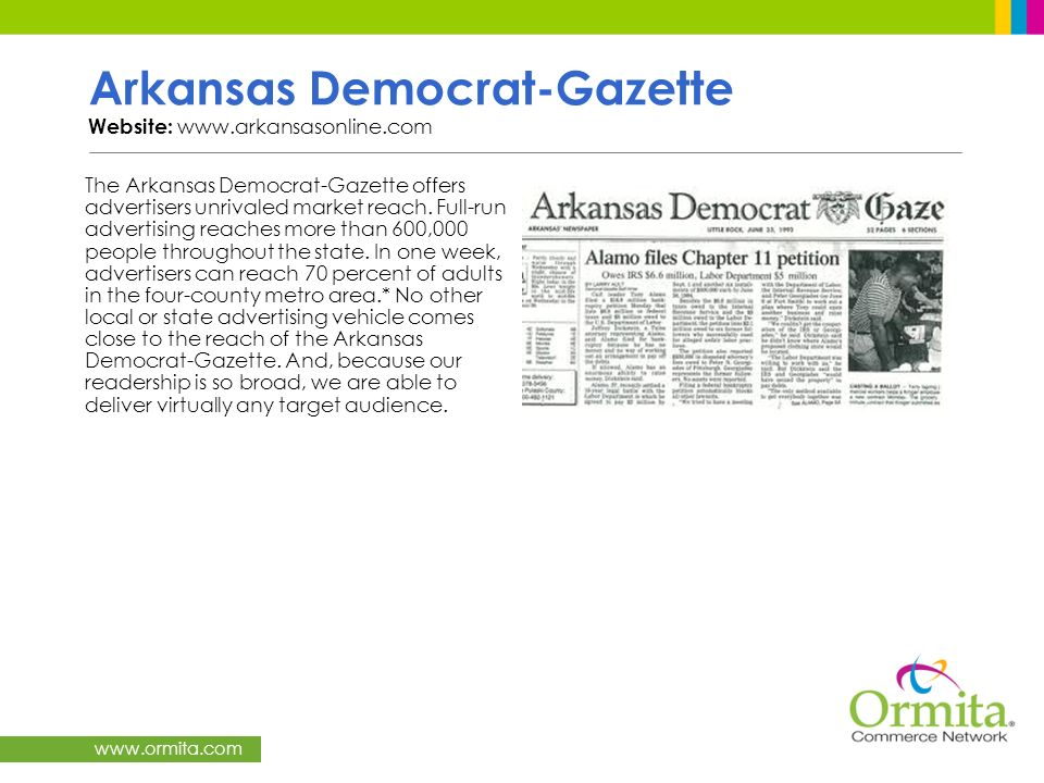 Arkansas Democrat-Gazette Website: www.arkansasonline.com