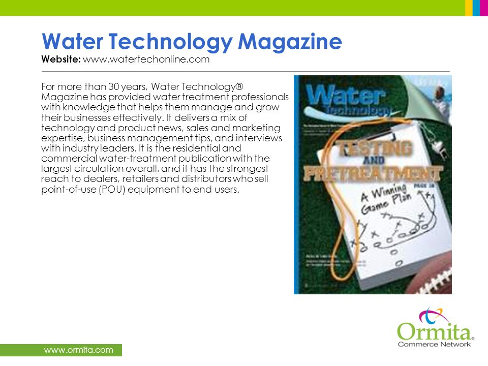 Water Technology Magazine Website: www.watertechonline.com